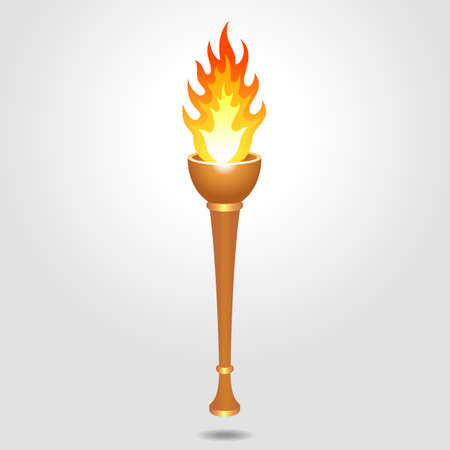 Vintage, olympic, bronze and old sport torch. Vector