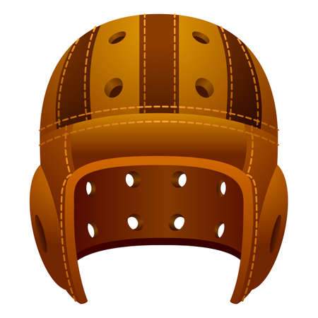 Old, vintage leather american football sport helmet. Vettoriali