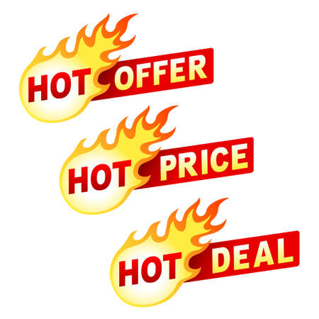 hot sale: Set of hot offer, price and deal flame sticker badges. Illustration