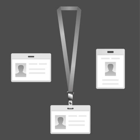 name badge: Name tag holder, lanyard badge set with icons on a dark background.