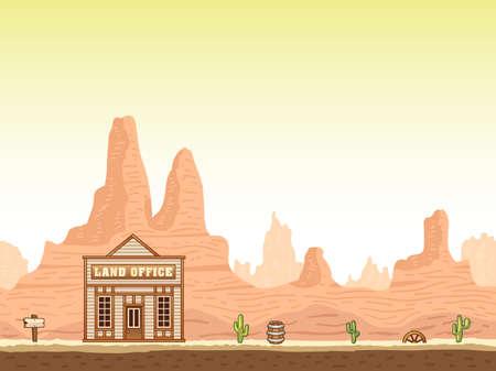 viejo oeste: Ca��n caliente al oeste fondo transparente salvaje y antiguo con la oficina de tierras