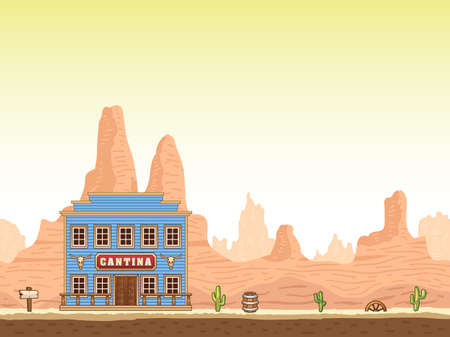 canyon: Wild and old west hot canyon seamless background with cantina.