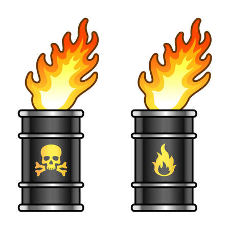 Black metal oil barrels in flame with skull and fire signs. Vector