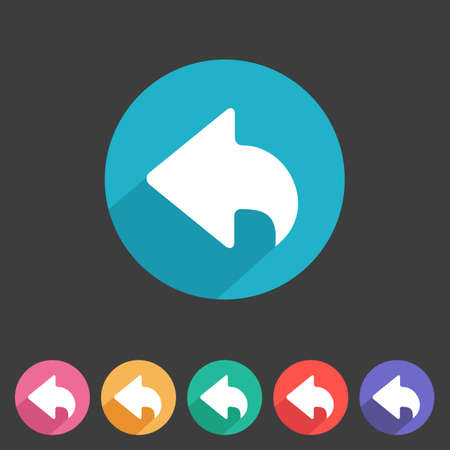 Flat style back icon for your game design  Ilustração