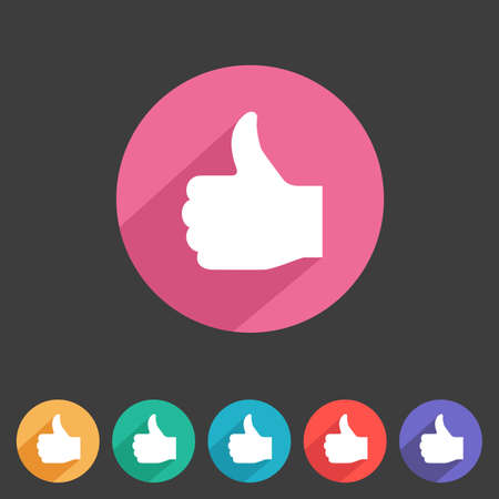 Flat style thumbs up icon for your game design  Vettoriali