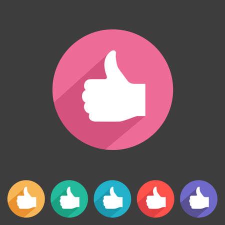 Vlakke stijl duimen omhoog pictogram van uw game design