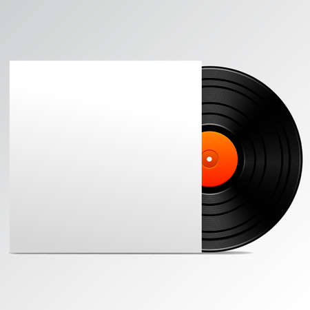 album cover: illustration of vintage vinyl with blank cover.