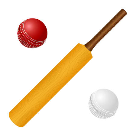 Colorful illustration of a wooden cricket bat and white and red ball.