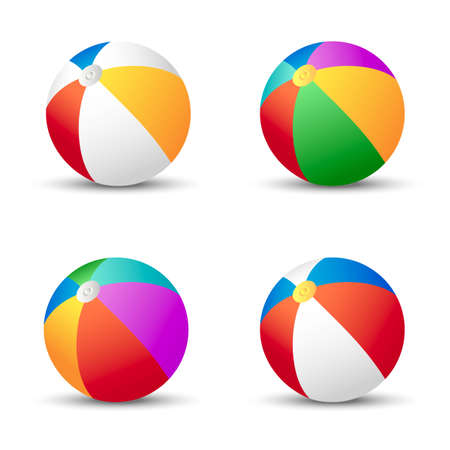 Multiple colors beach balls with shadow isolated on white background. Vector