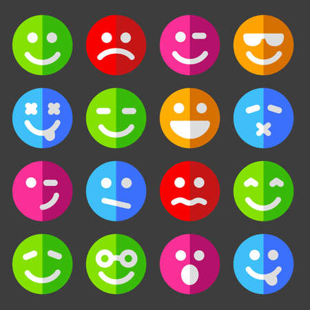 Flat, round icons of smiley faces and emoticons.