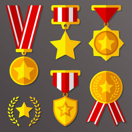 Flat medals and awards set with stars icon Ilustração