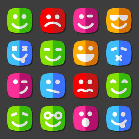 emotion faces: Flat vector emotion icons with smiley faces Illustration