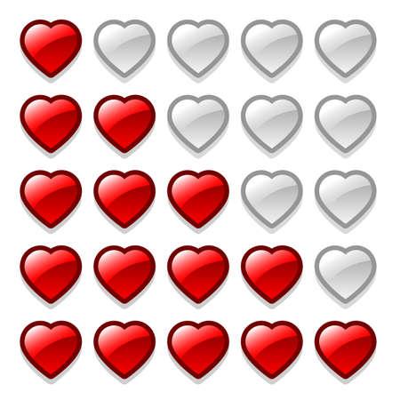 Game web rating hearts set Ilustração