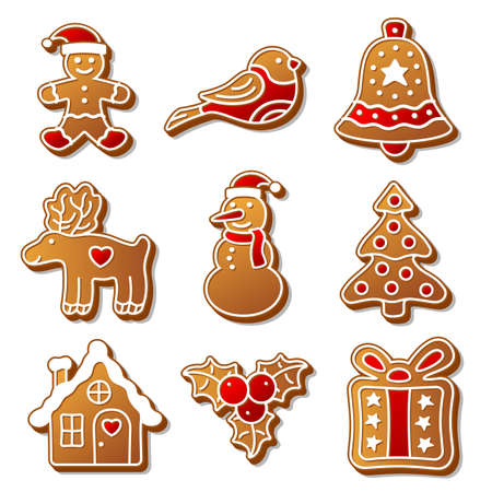 adornos navideños: Conjunto de la Navidad de jengibre panes ilustración para su diseño