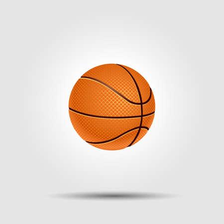 ballon basketball: balle de basket-ball isol� sur blanc avec l'ombre Illustration