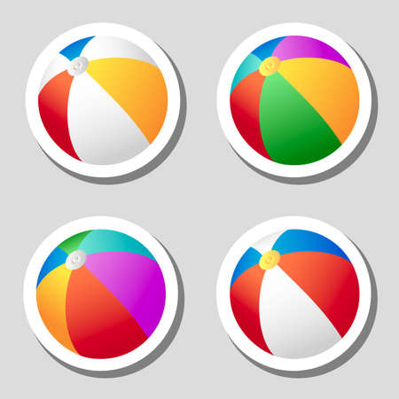 Beach ball stickers set Vector