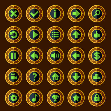 Flat steam punk game buttons
