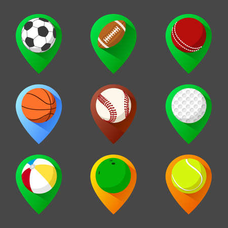 cricket ball: Mapping geo tag pin icon set with balls