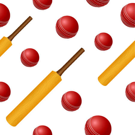 inning: Cricket ball bat seamless backgroung Illustration