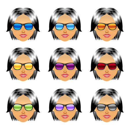 Female girl head with sunglasses Vector