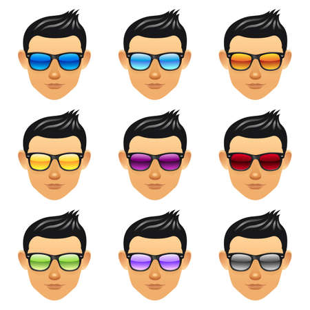 Male boy head with sunglasses Vector