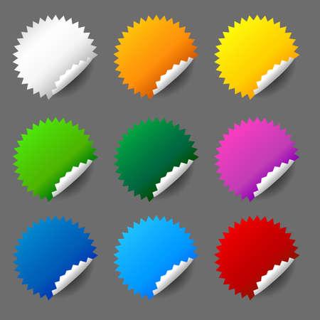 Blank round sticker set Ilustração