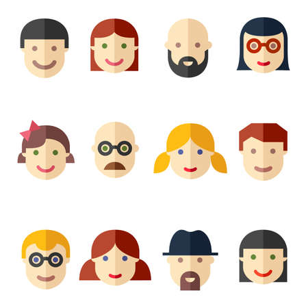 Flat avatars, faces, people icons Vector