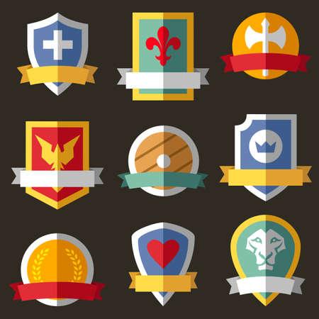 coronation: Vector coats of arms, shields, ribbons