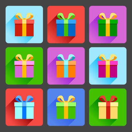 Flat gift box icons set Vector