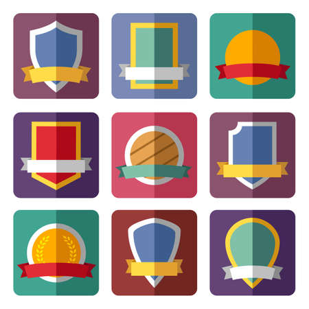 Vector coats of arms, shields, ribbons Vector