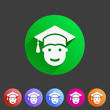 Student in graduation cap, flat icon Illustration