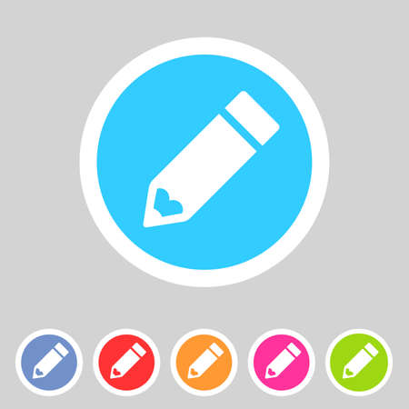 Flat pencil icon, colorful icon Vector