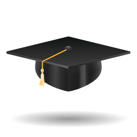 Graduation cap, isolated on white Vettoriali