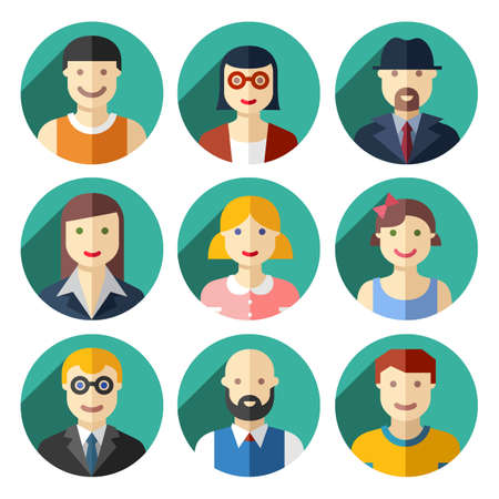 Flat round avatar icons, faces, people icons Vector
