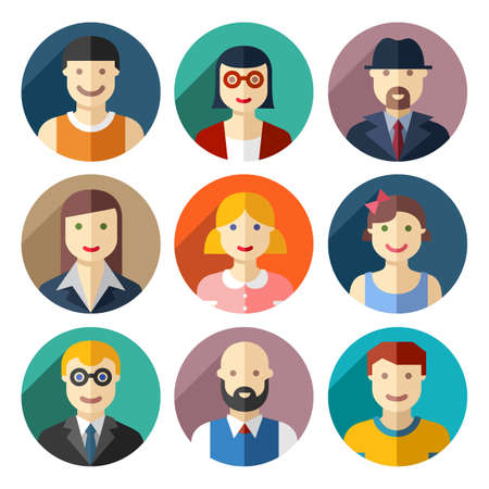 Flat round avatar icons, faces, people icons Vettoriali