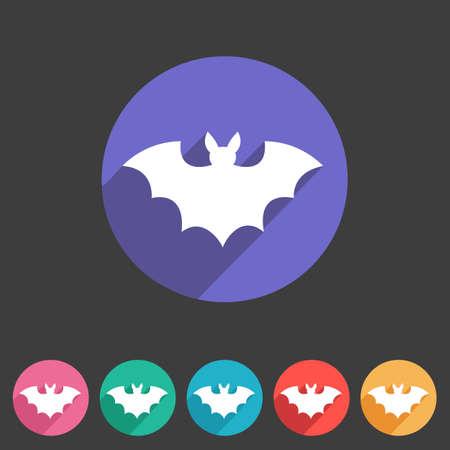 Bat flat halloween icon badge Vector