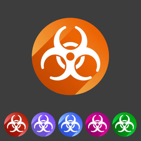 biohazard: Biohazard flat icon badge