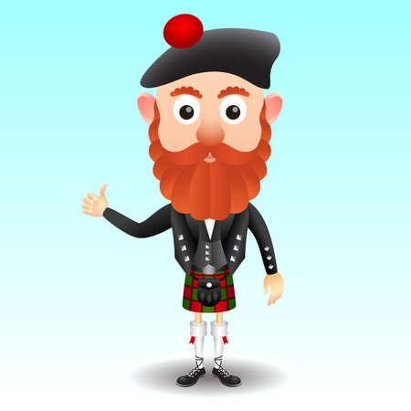 Carácter escocés en falda escocesa Vectores