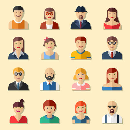 Flat round avatar icons, faces, people icons Иллюстрация