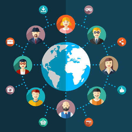 Social network flat illustration with avatars earth