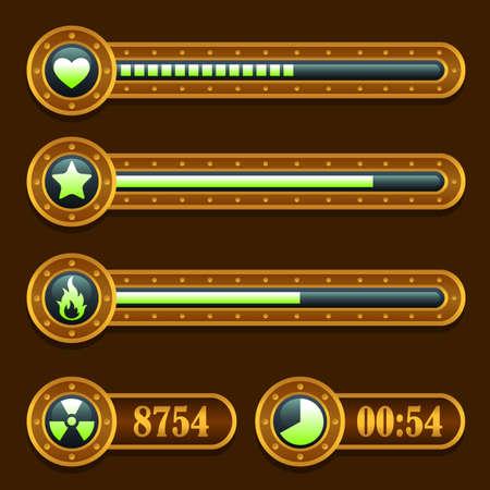 Game steampunk energy time progress bar icons set