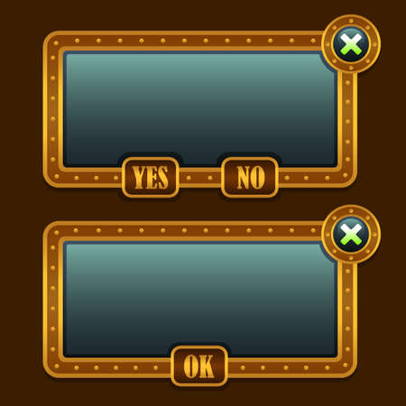 panels: Game steampunk menu interface panels Illustration