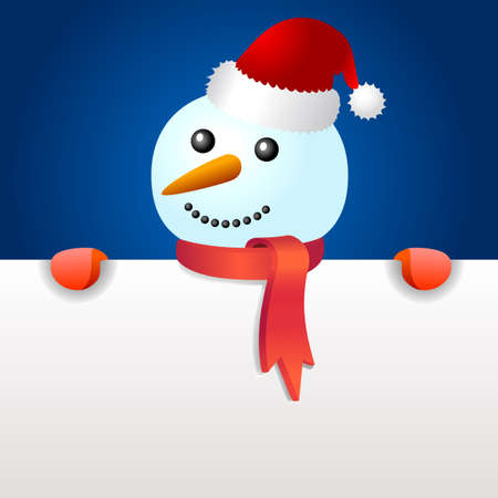 Smiling snowman, holding blank page Illustration