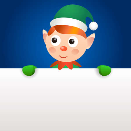 Smiling elf holding blank page Vector