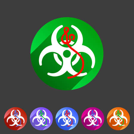 ebola: Ebola biohazard flat icon badge Illustration