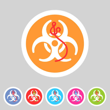 infectious waste: Ebola biohazard flat icon badge Illustration