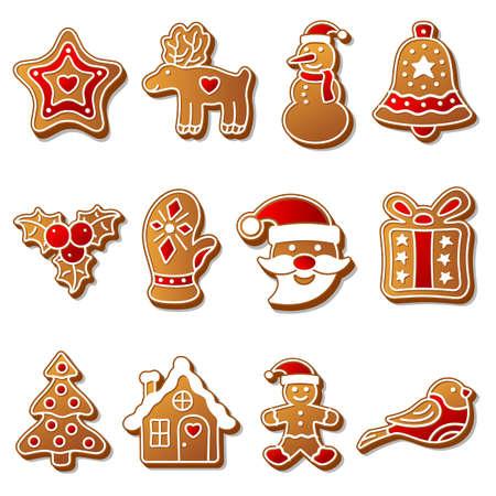 Gingerbread christmas cookies set Vector