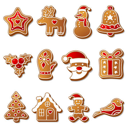 gingerbread cookies: Gingerbread christmas cookies set