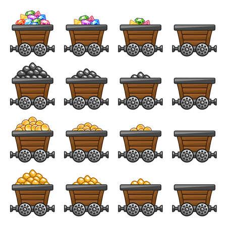 Mine cart set Ilustrace