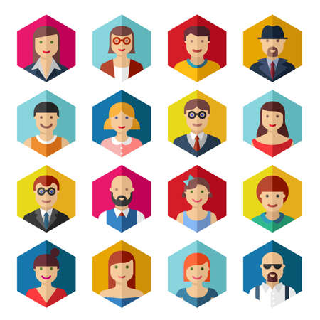 Flat avatar icons faces people symbols signs Vettoriali